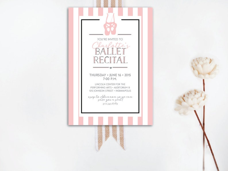 INSTANT DOWNLOAD ballet recital invitation / pink stripe image 0