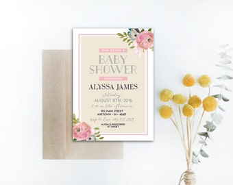 INSTANT DOWNLOAD baby shower invitation / floral baby shower invite / baby girl shower / garden party baby shower / vintage baby shower