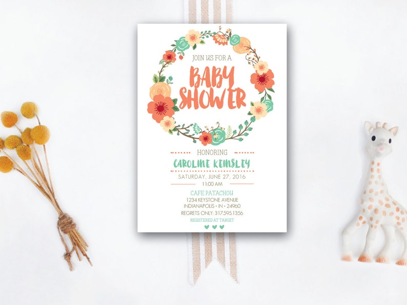 INSTANT DOWNLOAD baby shower invitation / floral baby shower / image 0