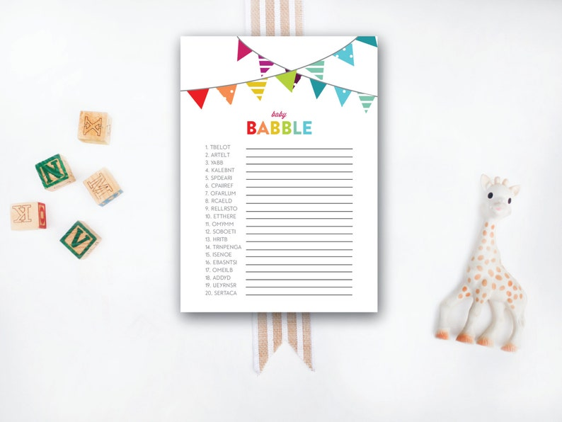 INSTANT DOWNLOAD printable baby shower game / baby babble game image 0