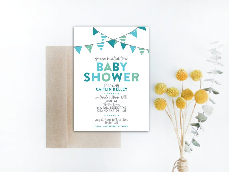 INSTANT DOWNLOAD baby shower invitation / boy baby shower / image 0