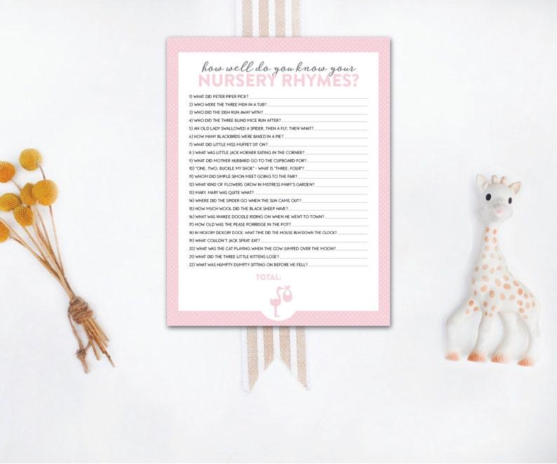 INSTANT DOWNLOAD printable baby shower game / nursery rhyme image 0