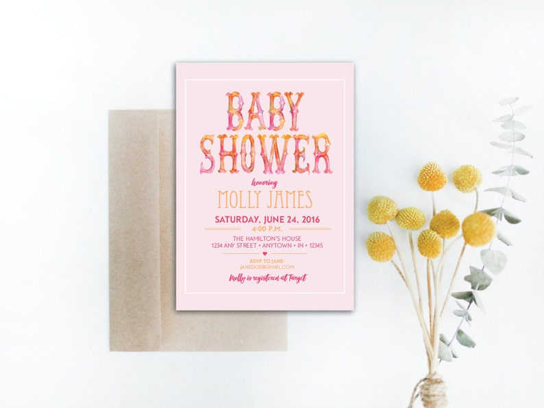 INSTANT DOWNLOAD baby shower invitation / pink baby shower / image 0