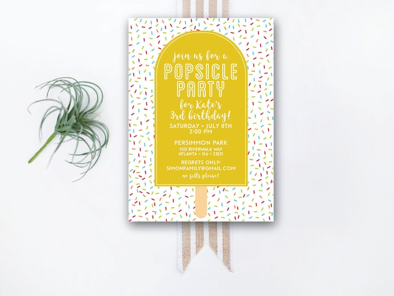 INSTANT DOWNLOAD birthday invitation / popsicle party invite / image 0