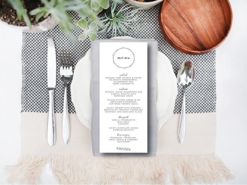 INSTANT DOWNLOAD wedding menu / instant download wedding menu image 0