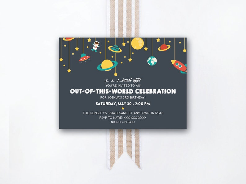 INSTANT DOWNLOAD birthday invitation / outer space party image 0