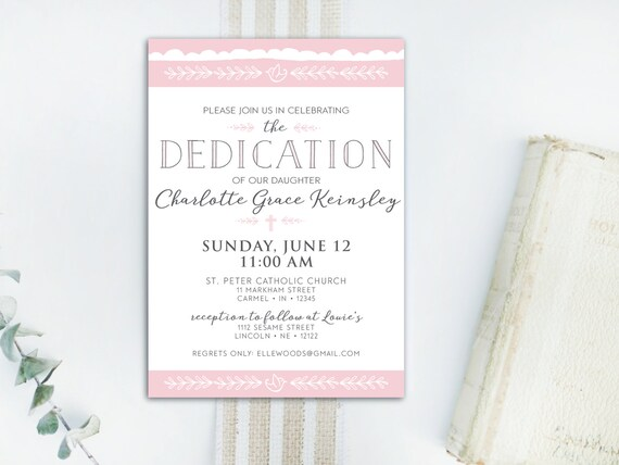 instant download dedication invitation baby dedication etsy