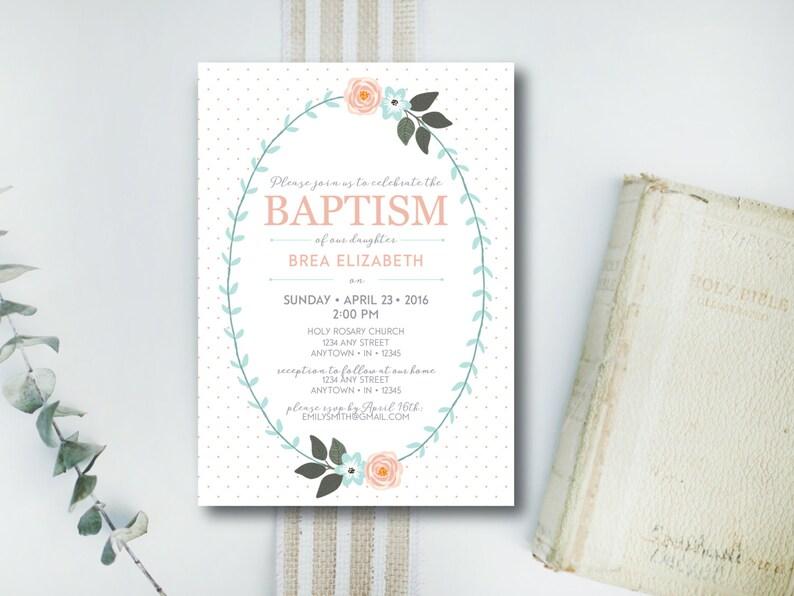 INSTANT DOWNLOAD baptism invitation / dedication invitation / image 0