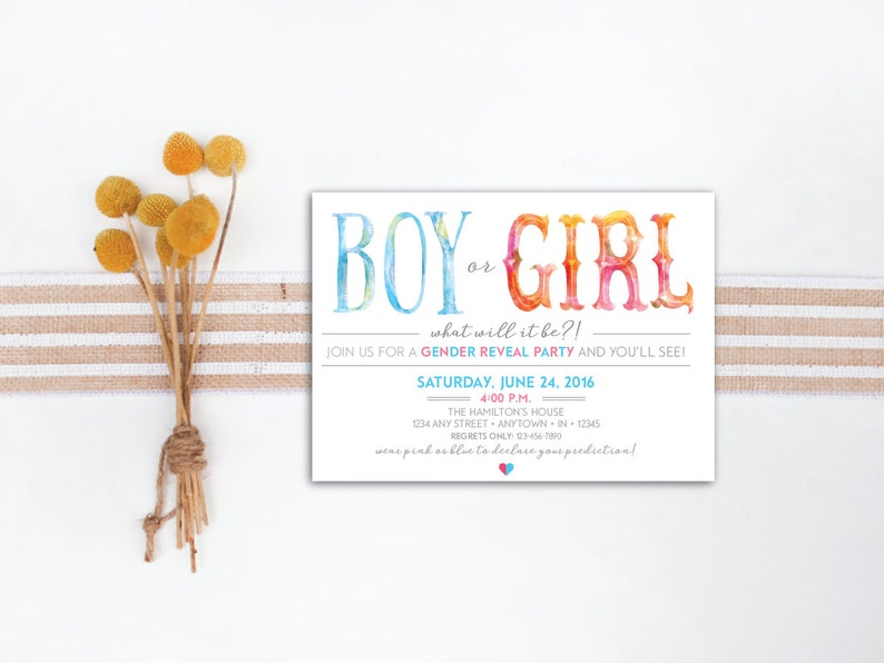 INSTANT DOWNLOAD gender reveal party invitation / whimsical image 0