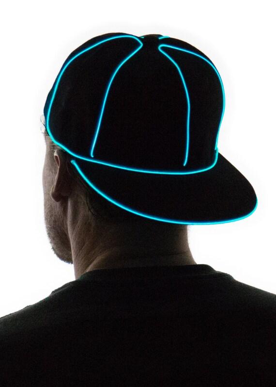 Light Up Snapback Hat Black Glow in the Dark Tron Rave  ade4798eec1