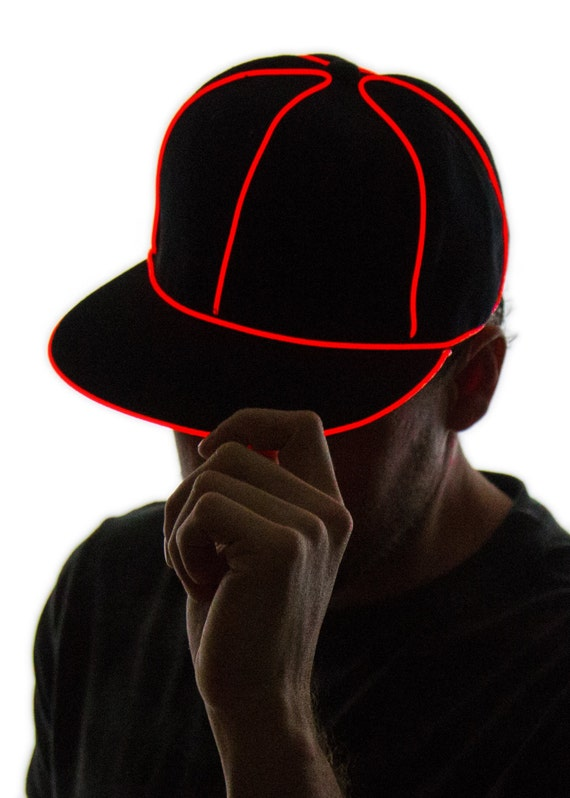 5fe2d6a12ce Light Up Snapback Hat Black Glow in the Dark Tron Rave