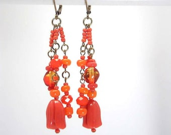 Earrings Crystal, glass, orange, bronze - colored Collection