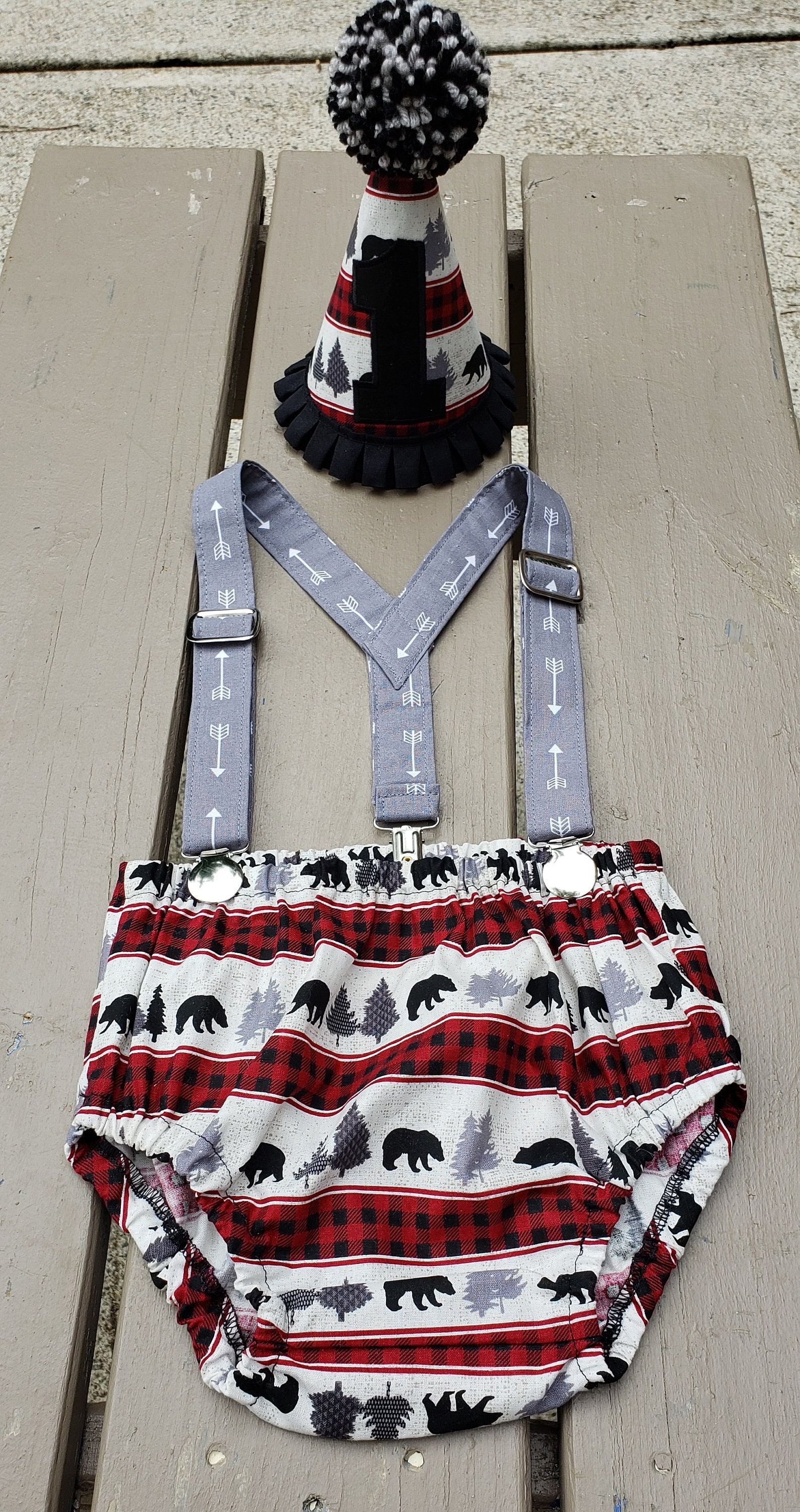Wild One Smash Cake Birthday Outfit Camping First Hat Tie Bow Diaper Cover Boys Photo Shoot