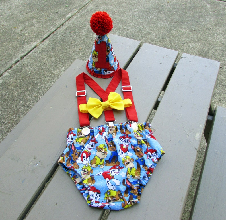 Boys Cake Smash Outfit Blue Paw Patrol First Birthday Hat