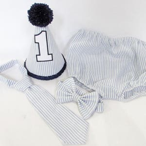 Blue Seersucker Boys Cake Smash Outfit Boy 1st Birthday First Set Hat Tie Bow Diaper Cover