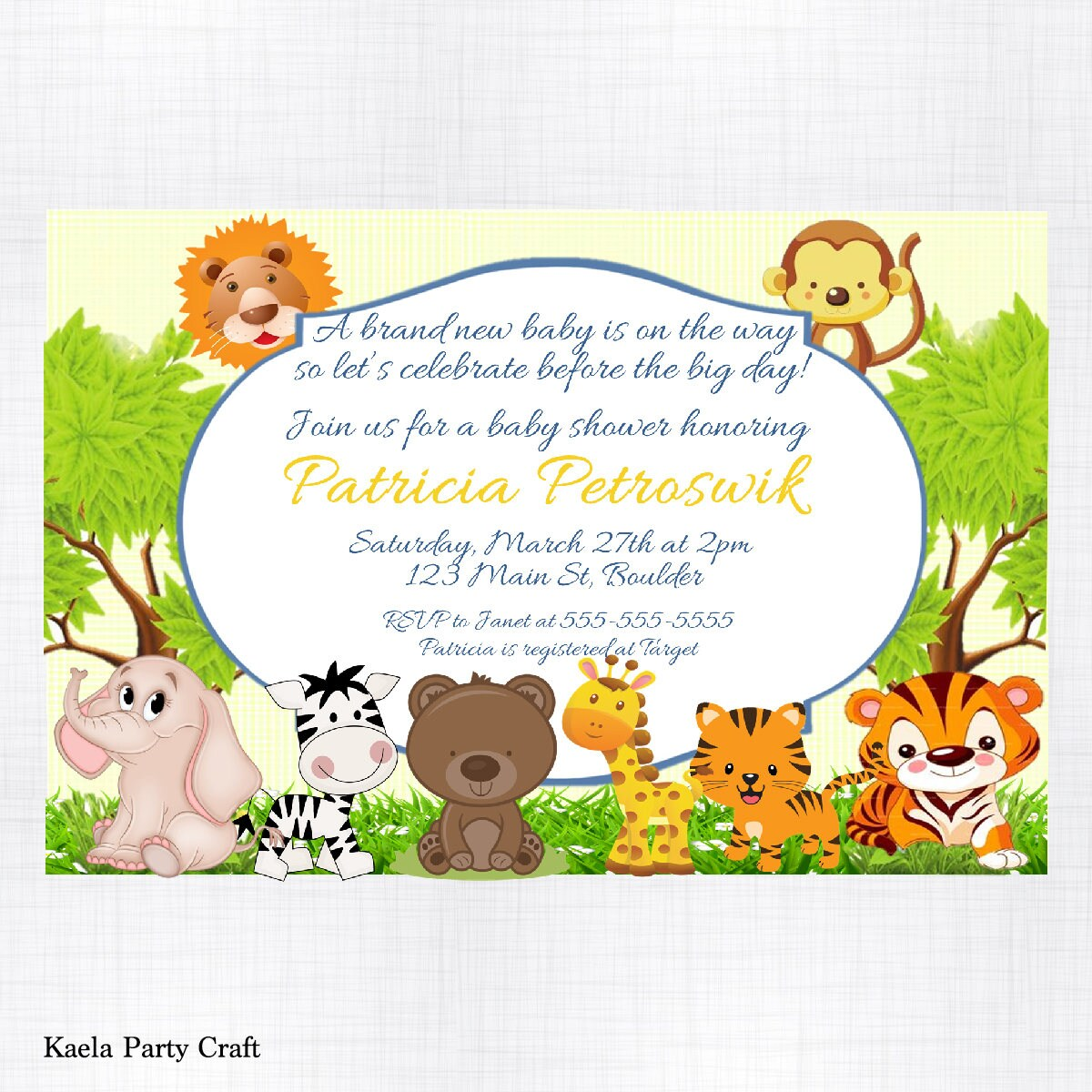 Safari Baby Shower Invitations. Safari Themed Baby Shower. | Etsy