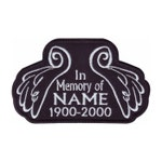 In Memory Angel Wings Custom Name Tag Black (B) Embroidered Patch