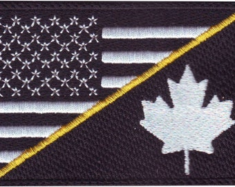 Thin Gold Line Canada Flag Patch for Emergency Dispatchers with Hook//Loop Backing