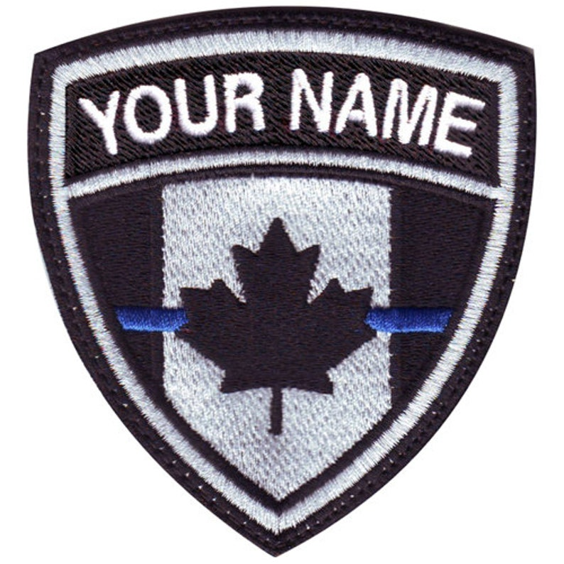 Thin Blue Line Canada Flag Custom Crest Flag name Embroidered Patch