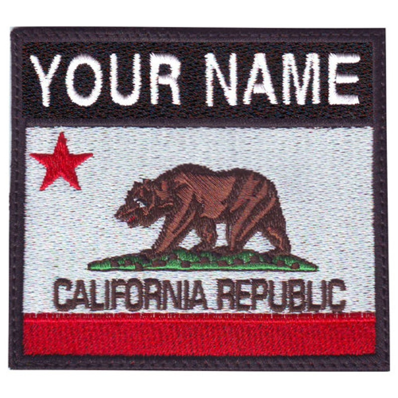 California Personalized Badge Flag Embroidered  Patch