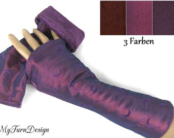 Arm warmers, hand culps, reversible culps, velvet c warmers, bordeaux, red, violet, aubergine