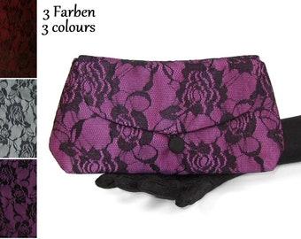 Handbag, evening bag, clutch, small, black, white, purple, bordeaux, taffeta, festive, elegant, lace,