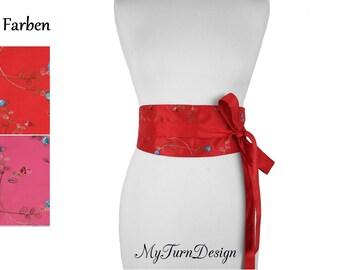 belt, tie belt, waist belt, wide, pink, red, obi, fabric belt, taffeta, XS, S, M, festive, bow,