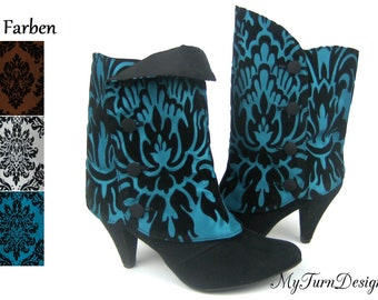 Gaiters for boots, cuffs for ankle boots, ornaments, gaiters, festive, elegant, taffeta, brown, turquoise, white