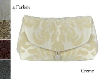 Handbag, evening bag, clutch, small, taffeta, festive, elegant, ornaments, cream, red, grey, beige