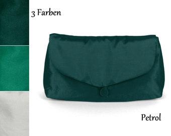 Evening bag, clutch, handbag, small, oetrol, turquoise, white, taffeta, festive, elegant