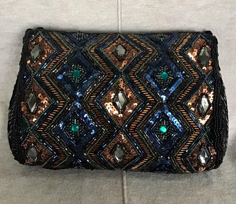 9fd5f6697f Purse- Beautiful Vintage Black Sequin Shoulder Bag W Copper and Black  Beading - 5-1 2