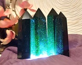 Green Goldstone Tower, Carved Sandstone Obelisk Wand Point, Wealth Prosperity Abundance Money Magick, Emerald Color Witchy Decor Pagan Altar