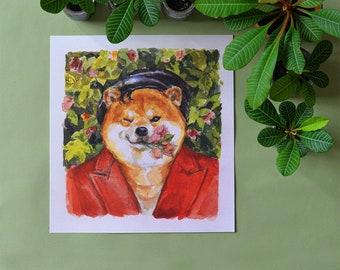 K pop shiba_dean_shiba inu_dog_green_plants_k pop_korean_horse fiddle press_dog fashion_dog lover_watercolour_illustration_illo_kawaii_print