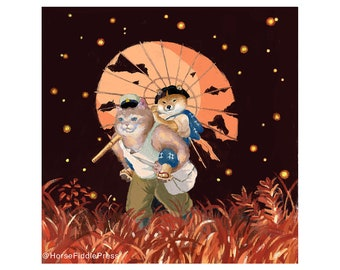 Grave of the Fireflies cosplay poster_grave of the fireflies_fireflies_shiba inu_dog_cat_puppy_ghibli_fan art_japanese_anime_Isao Takahata