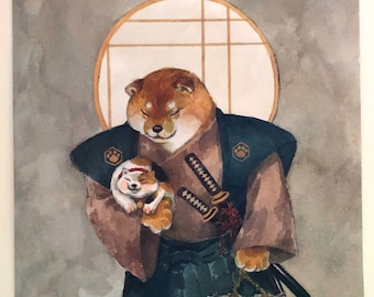 Poster Shiba samurai and cat_shiba inu_cat_dog_dog print_cat print_samurai_japan_japanese_kawaii_horse fiddle press_cat lover_watercolour