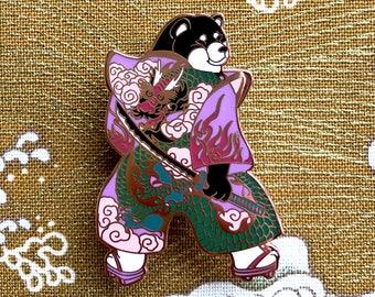 Dragon Samurai Shibainu Pin_shiba inu_dragon kimono_japanese_shibe_samurai_dog_dog enamel pin_dog lover_kawaii_horse fiddle press_tattoo