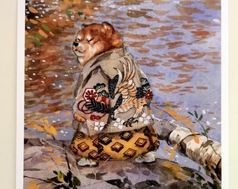Shiba Inu Prince_shiba inu_dog_dog lover_puppy_watercolour_dog poster_kimono_kawaii_eagle_dog painting_japan_Japanese print_autumn_nature