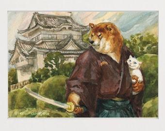 Hero poster_shiba inu_cat_cat lover_shibe_dog_dog lover_dog gift_art print_dog painting_watercolour_samurai_japan_kawai_ninja_art print_dogs