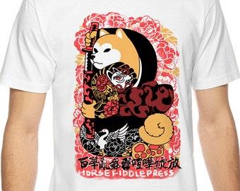 Yakuza woman White Tee_shiba inu_samurai_yakuza_horse fiddle press_t shirt_dog_dog lover_cahhigraphy_japanese_japan_shiba inu_fashion_crane