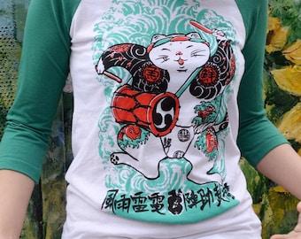 Yakuza Drummer Baseball Tee_yakuza_clothing_tee_cat tee_cat_cat lover_Japanese_japan_drummer_wave_pattern_horse fiddle press_fish_kawaii_tee