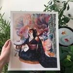 Shiba and betta fishes Prints_shuba inu_dog_kawaii_kimono_poster_watercolour_painting_horse fiddle press_storytelling_japanese_illustration