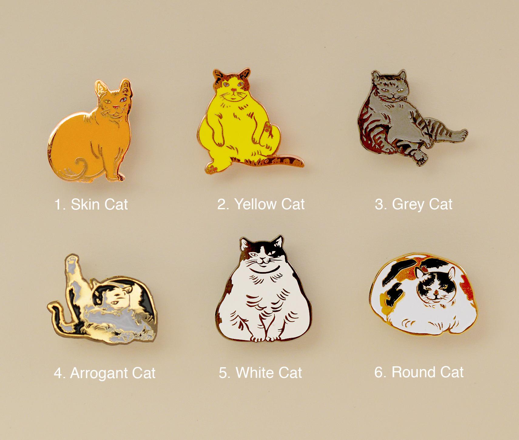 Cats enamel pins-cat gifts-enamel pin-brooch-calicocat-fat ...