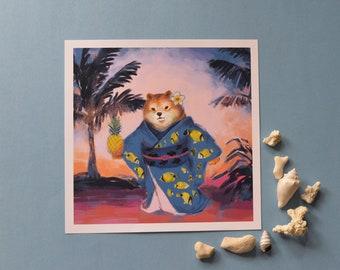 Hawaii shiba Poster_shiba inu_poster_poster_print_digital painting_painting_hawaii_summer_print_beach_dog lover_photoshop_kimono_japan_dog