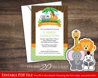 Safari baby shower invitation etsy instant download safari baby shower invitations editable pdf diy 4x6 printable baby shower jungle theme invites autofill enabled 57a filmwisefo