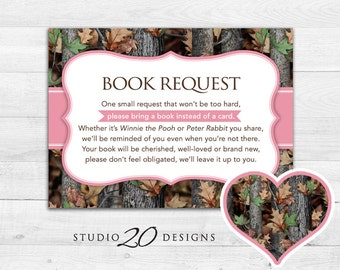 Camouflage baby book etsy instant download pink camo book request realistic pink camouflage book in lieu of card girl camo baby shower games one small request 31d colourmoves