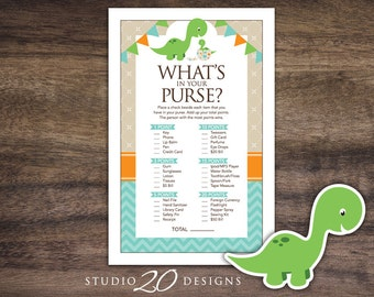 Instant Download Dinosaur Whats In Your Purse Baby Shower Game Teal Orange Games For Boy 59A