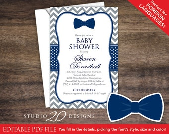 Bow tie baby shower etsy bow tie baby shower invitations editable pdf diy 4x6 printable grey navy chevron shower invites autofill enabled instant download 79e filmwisefo