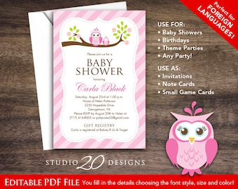 Owl baby shower invitation etsy instant download pink owl baby shower invitations editable pdf diy 4x6 printable pink brown owl invitations autofill enabled 23e filmwisefo