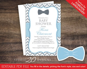 Bow tie baby shower etsy instant download 4x6 bow tie baby shower invitations editable pdf diy printable light blue grey chevron invitations autofill enabled 79d filmwisefo