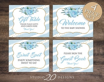 Instant Download Floral Watercolor Baby Shower Signs, 8x10 Gift Table Sign, Blue Gold Glitter Welcome, Guest Book and Table Signs 93B
